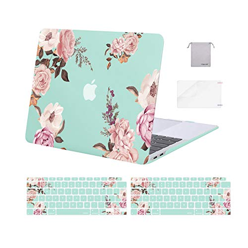MOSISO MacBook Air 13 inch Case 2020 2019 2018 A2337 M1 A2179 A1932 Retina, Plastic Peony Hard Shell & Keyboard Cover & Screen Protector & Storage Bag Only Compatible with MacBook Air 13, Green