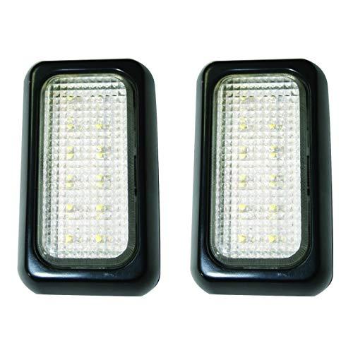 Set de 2 plafonniers / feux de remorque à LED.12 LEDs, 12V&24V, embase noire