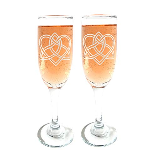 Celtic Love Knot Champagne Flutes Set of Two : Free Personalized Engraving