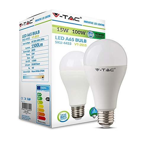 V-TAC 15 W (komt overeen met 100 W) LED-lampen, A65, 1500 lumen, EES-fitting, 3000 K, warmwit, niet dimbaar, stralingshoek 130 °