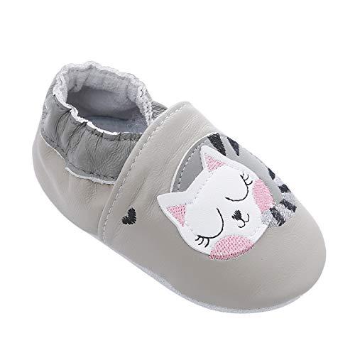 Weiche Leder Babyschuhe mit Mokassins Wildledersohlen für Kleinkinder Kleinkinder Jungen Mädchen Prewalker Schuhe (18-24 Monate, Faule Katze)