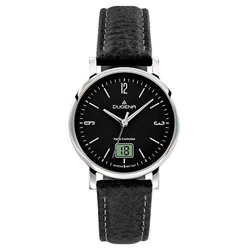 DUGENA Damen-Armbanduhr 4460848 Mondo, Funk, Quarz, schwarzes Zifferblatt, Edelstahlgehäuse, Saphirglas, Lederarmband, Dornschließe, 5 bar