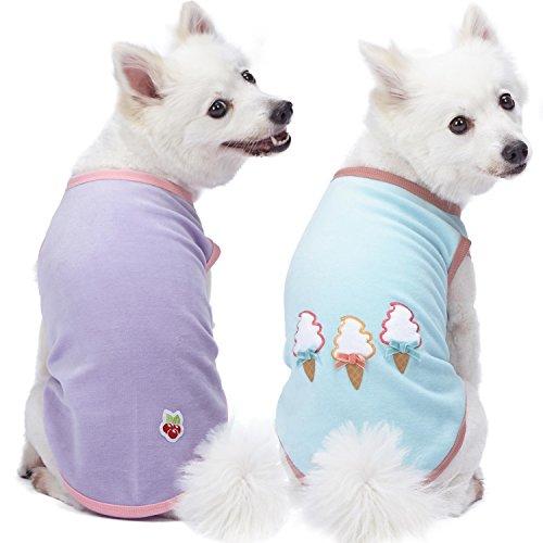 Blueberry Pet Doppelpackung Weich & Angenehm Perfekte Garderobe Unentbehrliche Baumwoll-Mischgewebe Hundepyjamas & Hemd T-Shirts, Rückenlänge 30cm, Bekleidung für Hunde