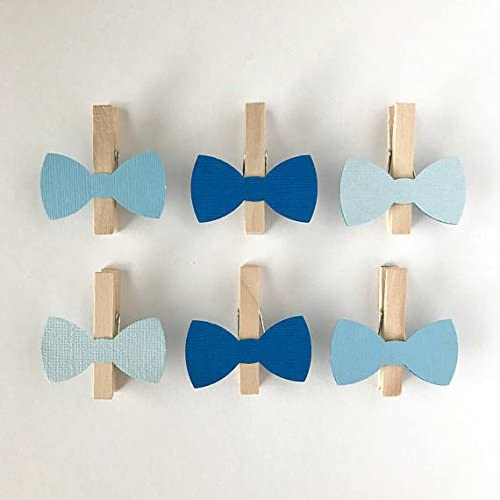 Sweet Thymes Blue Bow Tie Clothespins Baby Shower Decoration Don't Say Baby Game Clips 12 Pins Baby Boy Diaper Cake Wedding Party Favors Drink Marker Place Card