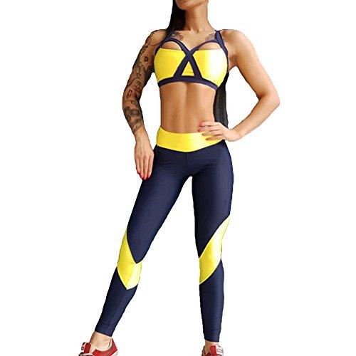 Frauen Sport Set 2Pcs Outfit Sexy Ärmellos Weste + Hose mit hoher Taille Damen Drucken Sportanzug Jogginganzug Trainingsanzug Outfit Set Sport Laufen Yoga Anzug