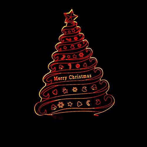 Yujzpl 3D-illusielamp Led-nachtlampje, USB-aangedreven 7 kleuren Knipperende aanraakschakelaar Slaapkamer Decoratie Verlichting voor kinderen Kerstcadeau-Kerst lantaarn