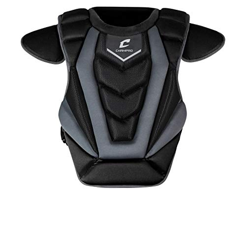 CHAMPRO Optimus Pro Baseball/Softball Catcher's Chest Protector with Removable Shoulder Cap and Tail Extension 16.5'' Length, Black (CP181-183)