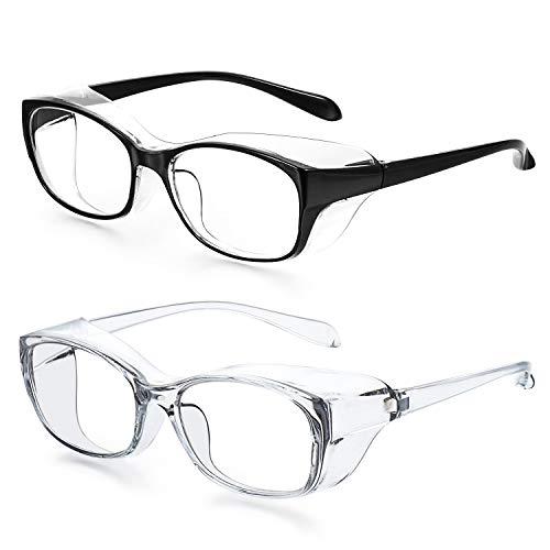 2Pack Safety Glasses Anti Fog Blue Light Blocking Glasses for Men and Women Anti Pollen Safety Goggles Eye Protection Glasses UV400 Protection Black amp Light blue