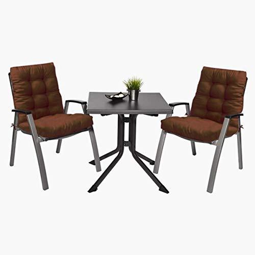 2 Cojín de Silla Jardin Conjunto de 90 x 45 x 10cm cm Asiento para Interior y Exterior Cómodo. Cojines para sillas, tumbonas, mecedoras terraza. (Marrón)