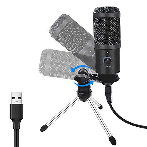 JVCAN Metalen USB-microfoon, condensator opnamemicrofoon, bedrade microfoon met standaard voor computer, laptop, pc, karaoke studio-opname