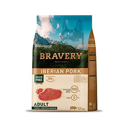 Bravery Super-Premium-Hundefutter 12 Kg (getreidefrei/natürliche Antioxidantien/hypoallergen/glutenfrei) (Iberisches Schweinefleisch)
