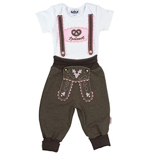 Trachten Set für Mädchen bestehend aus Baby Body mit kurzem Arm und Applikation Hosenträger und Baby Jogginghose Lederhosen Look, braun/pink - EIN tolles Geschenk für Spatzerl