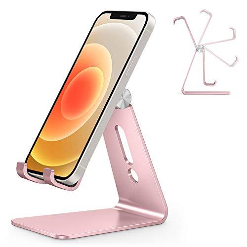 OMOTON Handy Ständer Verstellbar, Phone Stand kompatibel mit iPhone 12 Mini/iPhone 12 Pro Max/11 Pro/XR, Multi-Winkel Handyhalterung für Huawei, Samsung, Xiaomi, OnePlus andere Smartphone, Rosegold