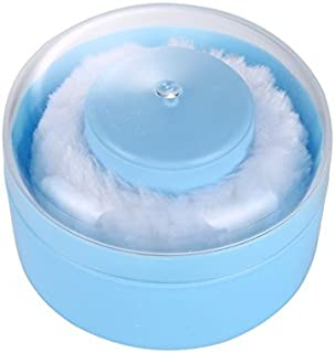 JingyangO Travel Portable Baby Talcum Powder Puff Dusting Powder Container Talcum Powder Box Case Kit and Puffs with Handle - Blue & White