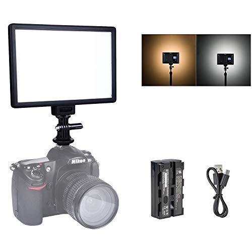 VILTROX L116T 5600K / 3300K Panel de luz LED bicolor Kit de luz de video regulable para cámara DSLR con batería de iones de litio NP-F550 y cargador USB