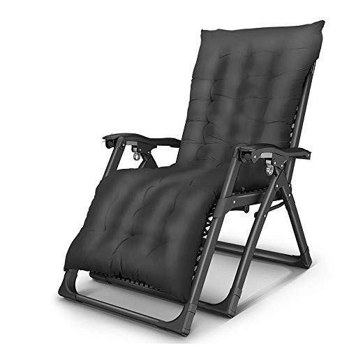 DSHUJC sun lounger Lunch Break Recliner Home Nap Elderly Adult Leisure Chair Lazy Couch Folding Chair Portable Outdoor Camping Beach Deck, Detachable Headrest/Cushion, Load 200kg