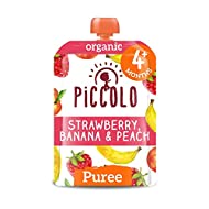 Piccolo Organic - Baby Food - Baby Food 4 Months+ Strawberry, Banana & Peach – Pack of 5 x 100g – St...