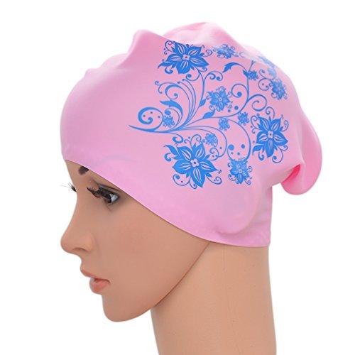 Medifier. Elastico per capelli lunghi in silicone, da donna, per piscina, cuffie, cappelli, con stampa a fiore, Pink