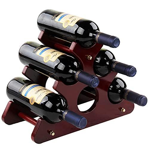 Soporte para 6 Botellas Vino,Botellero De Madera,Estante Vino Encimera Madera Maciza,Botellero Madera Independiente,Puede Poner 6 Botellas De Vino,Utilizadas En Bares,Hogares,Cocinas,Armarios