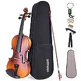 ammoon Violine Set 3/4 Geige, Matte Acoustic Violine Geige für Anfänger mit Hartschalenkoffer, Schulterstütze, Tuner und Saiten