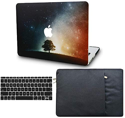 KECC Laptop Case for New MacBook Air 13' Retina (2020/2019/2018, Touch ID) w/Keyboard Cover + Sleeve Plastic Hard Shell Case A1932 3 in 1 Bundle (Lonely Tree)