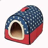 L.TSA Cama para Gatos para Mascotas Suave y cálida Nido para Mascotas Perro Antideslizante Cama para Gatos Plegable Invierno Suave y Acogedor Saco de Dormir Alfombrilla Cojines (Color: Azul, Tamañ