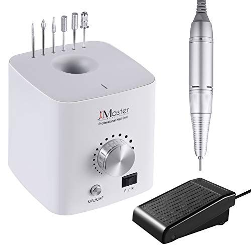 JCMaster Nail Drill 30000rpm Powerful Electric Nail File for Acrylic Nails Gel Nails, With Foot Pedal 6 Diamond Bits No Noise No Vibration Professional Manicure Pedicure Efile for Nail Care Nail Art