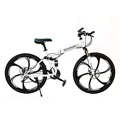 DOMDIL Folding Mountain Bike 26in 21 Speed 6-Spoke Adults Bicycle (Ship from US) Full Suspension Road Bikes with Disc Brakes for Adult Teens MTB Bikes,White