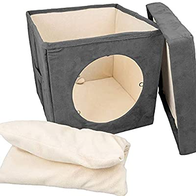 "Cat Condo Pet Cube (15x15x15) – Cat House Pet Bed Hideaway for Your Kitty's Privacy and Entertainment! Durable, Washable, Easy to Clean & Non-Toxic Cat Bed – Large 8.5"" Entry with Easy Carry Handle!"