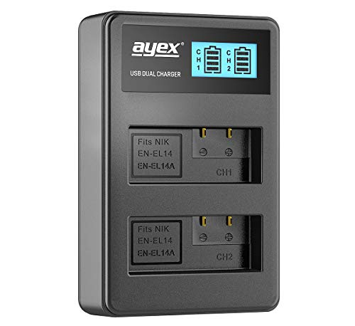 ayex Dual USB-oplader voor Nikon Li-Ion accu's type EN-EL 14 - opladen via USB-stekker, laptop, powerbank of PC - LCD-display met laadindicator