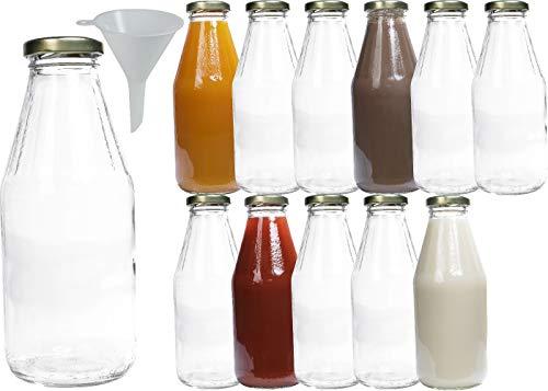 mikken 12 x szklana butelka 500 ml, butelka z zakrętką, złota z lejkiem, przezroczysta, 12 x 500 ml