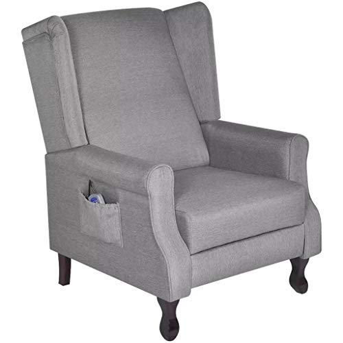 Tidyard Einstellbarer TV Massagesessel Stoff Ruhesessel Fernbedienung Grau Adjustable TV Reclining Chair Fabric Armchair for Living Room