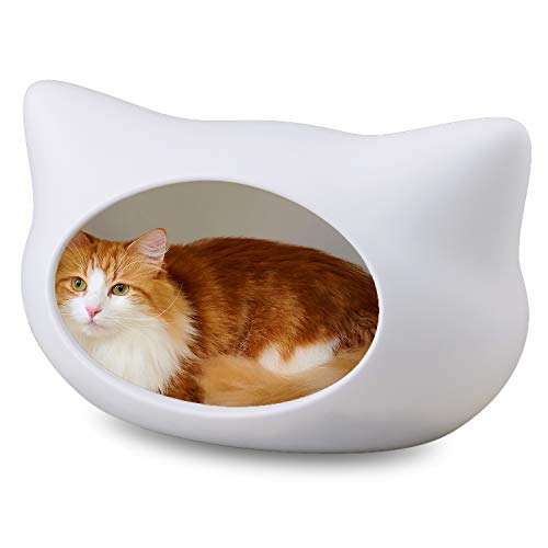 【OFT】 ねころん しろ 猫顔モチーフ ドーム型ベッド ファーマット付き ホワイト 猫