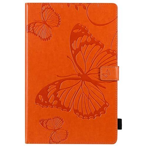 JDDRCASE Funda Floral de Flores de Mariposa PU de Cuero de la Carpeta de Cuero para la Tableta para Galaxia s6 Lite SM-610 p615 10,4 Pulgadas 2020 (Color : Naranja)