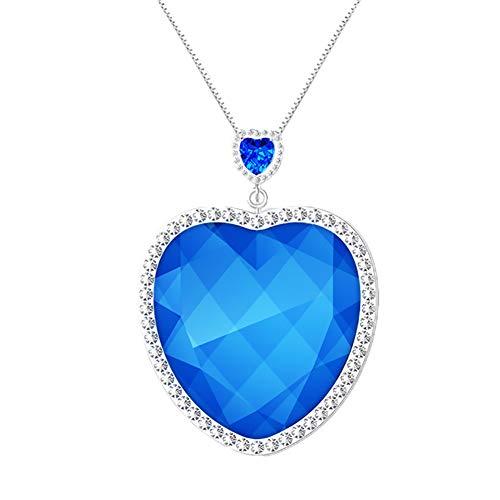 HXML Collar con Colgante De Corazón Azul Marino, Personal Portátil USB De Anión Mini Portátil Ionizador Negativo Purificador De Aire Collar Pm2.5