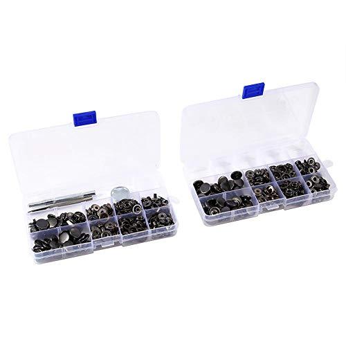 FTVOGUE 100 Juegos de Broches de Presión Botón de Botón de Popper Negro con Kit de Herramientas de Instalación