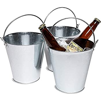 Juvale 3-Pack Galvanized Metal Ice Bucket Pails for Beer Drinks and Party Decorations 7 Inches