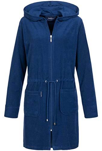 Morgenstern Bademantel Damen mit Reißverschluss und Kapuze Blau Dunkelblau Damenbademantel S Baumwolle Frauen weich frottee Zipp kurz leicht
