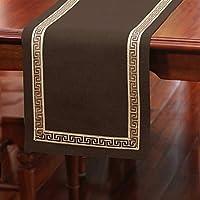 テーブルランナーキッチン 手作りダイニングテーブルランナーやドレッサースカーフ、テーブルランナーフィット四角形と丸いテーブルの装飾、宴会、宴会、卒業、7色 (Color : Brown, Size : 33*200CM)