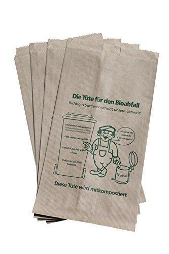 100 Bioabfalltüten Papier braun 9,5 l Biomülltüten Kompostbeutel Mülltüten Müllbeutel Bio 20 + 16 x 36 cm