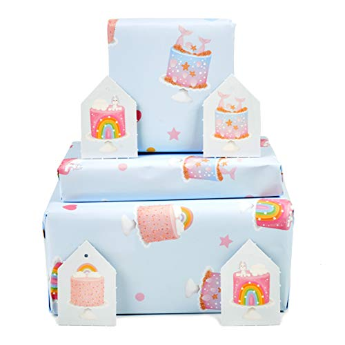 Central 23 - New Baby Wrapping Paper - Mermaid - Pink and Blue - For New Baby Girls - 1st Birthday Paper - 2nd 3rd 4th - Recylable