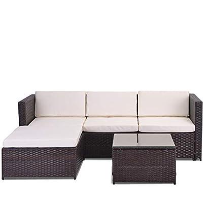 LIFE CARVER Garden Corner Sofa Rattan Furniture Set Black with cream Seat and back cushions