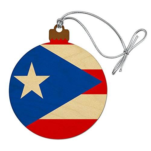GRAPHICS & MORE Puerto Rico Country Flag Wood Christmas Tree Holiday Ornament