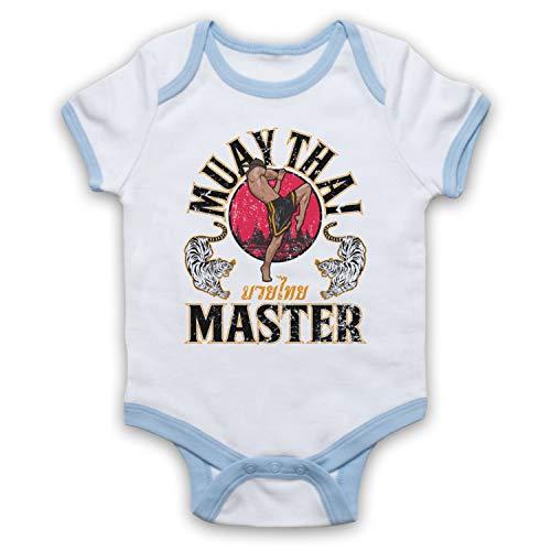 My Icon Art & Clothing Muay Thai Master Martial Arts Expert - Body per Neonato Bianco e Blu Chiaro 0-3 Mesi