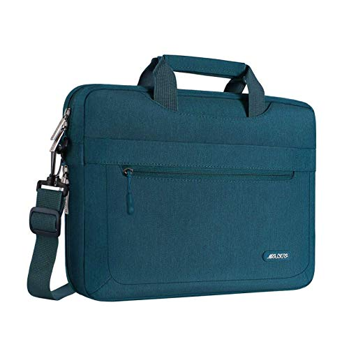 MOSISO Laptop Shoulder Bag Compatible with 17-17.3 inch Dell HP Acer Samsung Sony Chromebook Computer, Polyester Messenger Carrying Briefcase Sleeve with Adjustable Depth at Bottom, Deep Teal
