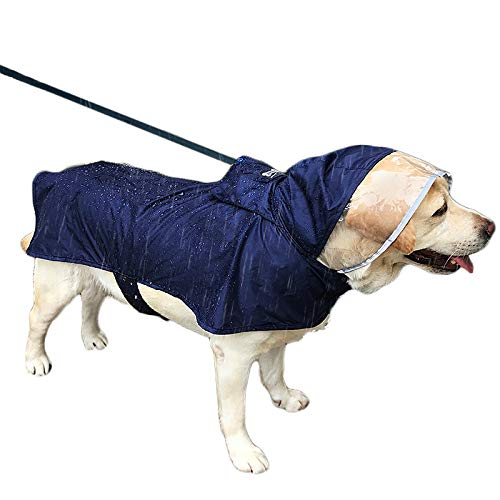 Duolemi Wasserdichter Hunde-Regenmantel Portable große Haustier-Regenjacke, Hunderegenmantel, justierbarer wasserdichter Regenmantel mit sicherem reflektierendem Streifen (XXL, Marine)
