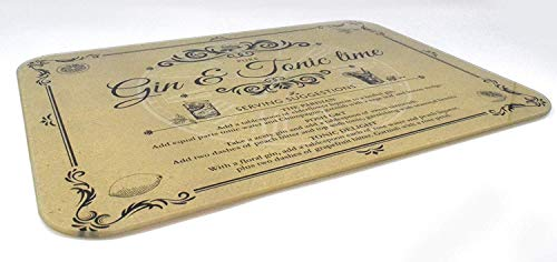 Gin en Tonic Vintage Style Glazen snijplank Werkblad Saver, Medium Grootte 30x40cm
