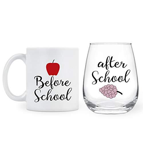 Before School, After School 11Oz Coffee Mug and 15Oz Wine Glass Set for Teachers, Professors, Mentor, Teaching Assistant - Funny Idea for Teacher's Day, Teacher Appreciation, Birthday