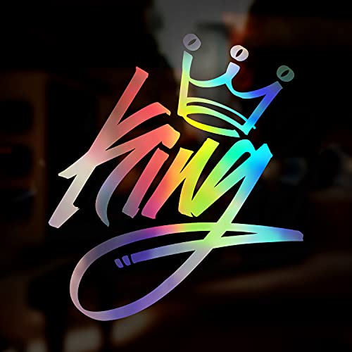 King Graffiti Typo JDM Decal Sticker, Oil Slick Chrome Holographic...