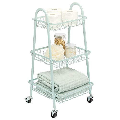 mDesign Rollwagen aus Metall – mobiler Küchenwagen mit 3 Ebenen für zusätzlichen Stauraum – auch als praktische Aufbewahrungslösung im Kinderzimmer oder Bad einsetzbar – mintgrün